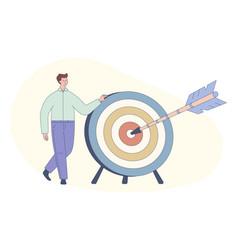 cute cartoon man and dart board with bow arrow vector image