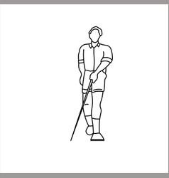 Design sketch blind man using blind stick vector