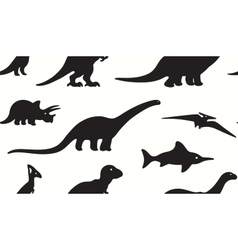 Dinosaurs black silhouettes on white background vector image