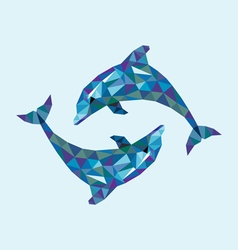 Dolphin low polygon vector image
