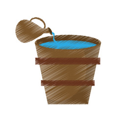 Drawing wooden bucket water jar vector