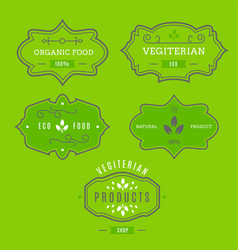 eco icons labels set organic tags natural vector image