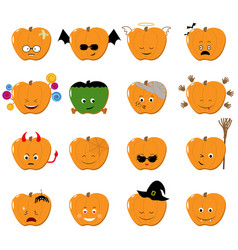 emoticons halloween set cute funny vector image