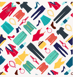 fashion women seamless pattern with clothes and vector image