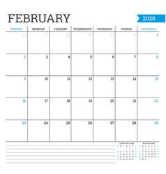 February 2020 square monthly calendar planner vector