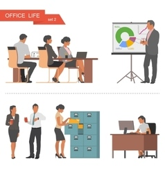 Flat design of business people and office workers vector