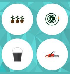 Flat icon garden set hacksaw pail flowerpot vector