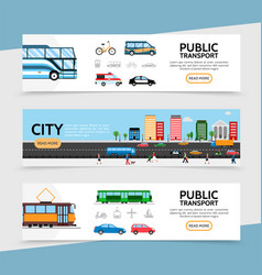 flat public transport horizontal banners vector image