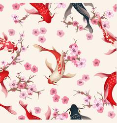 garden koi seamless pattern vector image