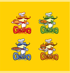 gecko chef mascot vector image