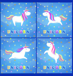 girlish unicorn with rainbow mane and sharp horn vector image