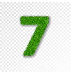 grass number seven green number 7 isolated on vector image