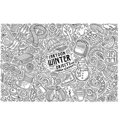 Hand drawn doodle cartoon set winter vector