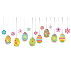 Hanging colorful Easter eggs vector image