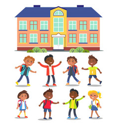 happy kids go to school with backpacks cartoon vector image