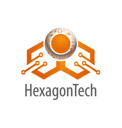 hexagon technology logo concept design symbol vector image