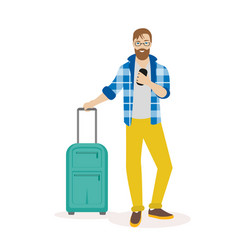 Hipster traveling man standing with suitcase and vector