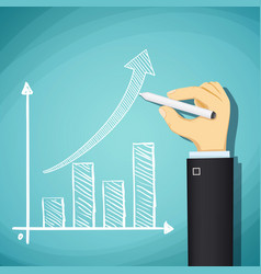 human hand drawn growth chart success in business vector image