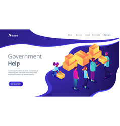 Humanitarian aid isometric 3d landing page vector