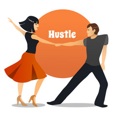 Hustle dancing couple in cartoon style vector