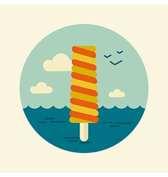 Ice cream icon summer beach sun sea vector