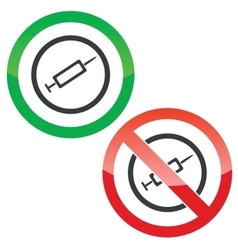 Injection permission signs vector image