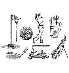 Ink hand drawn golf icon set vector