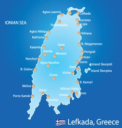 Island of Lefkada in Greece map vector image