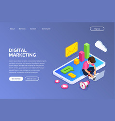 isometric digital marketing concept guy sets up vector image