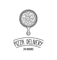 Italian pizza label badge pizzeria design elements vector