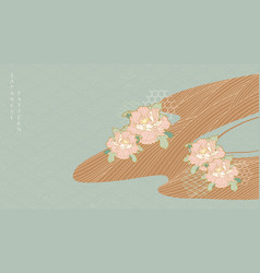 japanese background with peony flower decoration vector image