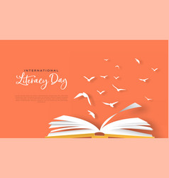 literacy day papercut card open book birds flying vector image