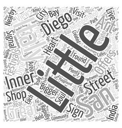 Little Italy San Diego Word Cloud Concept vector image