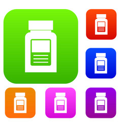 Medicine bottle set color collection vector