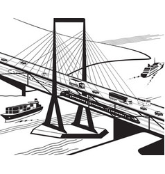 multifunctional transportation bridge in perspecti vector image