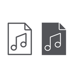music file line and glyph icon music and sound vector image