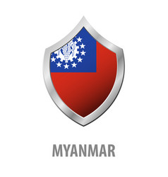 Myanmar flag on metal shiny shield vector