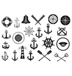 Nautical icon set with anchor helm and rope vector