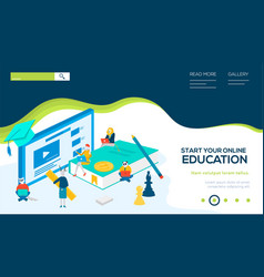 Online education isometric landing page template vector