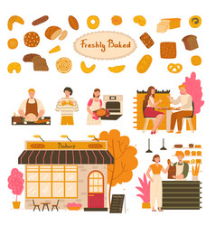 People in bakery fresh pastry products vector