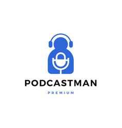 podcast man logo icon vector image