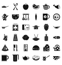 restaurant icons set simple style vector image