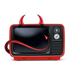retro devils tv vintage television isolated on vector image