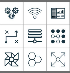 Robotics icons set with computational complexity vector