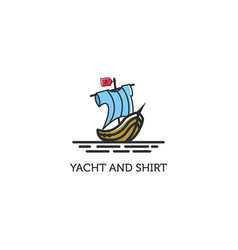 sailing yacht logo with shirt on sail vector image
