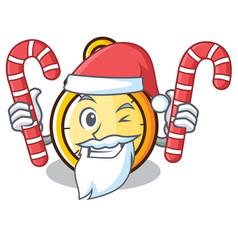 Santa with candy chronometer character cartoon vector