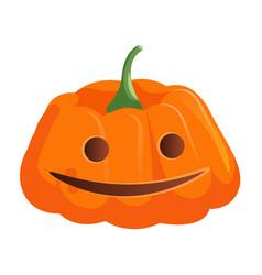 Scary smiling jack-o-lantern pumpkin on white vector