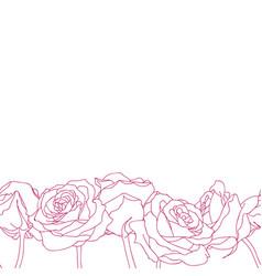 Seamless bottom border made of rose flowers vector