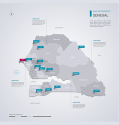 senegal map with infographic elements pointer vector image