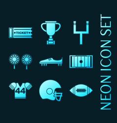 set american football glowing neon icons vector image